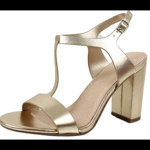 Shoes - Gold T Strap Open Toe Block Heel Sandal